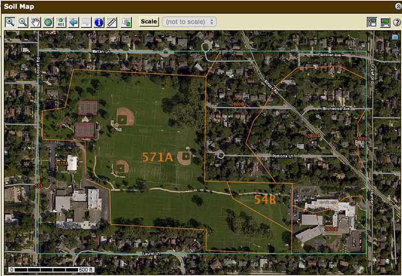 The soil types at the Wilmette Community Playfield. (Source is the USDA WSS.)