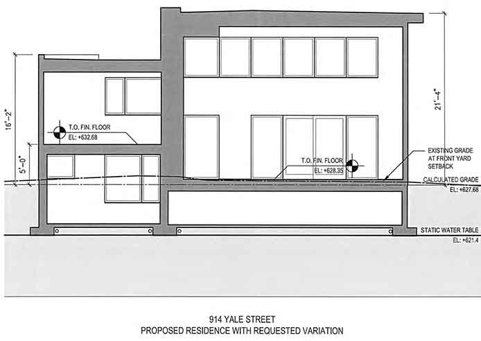 Design with basement elevated 1' (left) and slab/crawl space (right).
